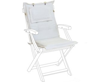 Coussin moelleux en tissu beige anti-UV pour chaise de jardin