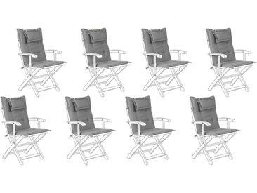 8 coussins moelleux en tissu gris anti-UV pour chaises de jardin
