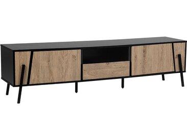 Meuble TV noir et bois clair au style industriel et minimaliste