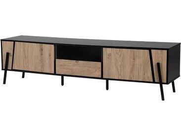 Meuble TV en bois clair et noir BLACKPOOL