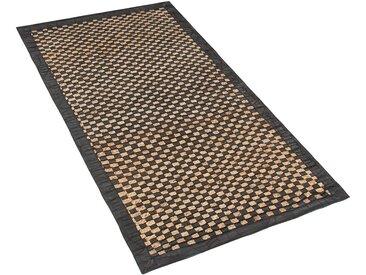 Tapis patchwork en cuir motif à damier beige et noir