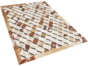 Tapis patchwork marron à motif 3D en peau de vache naturelle 140 x 200 cm
