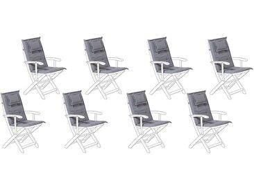 8 coussins moelleux en tissu gris graphite anti-UV pour chaises de jardin