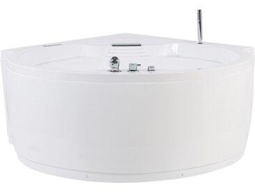 Baignoire balnéo d'angle ronde en acrylique blanc avec hydromassage, LEDs et haut parleur Bluetooth