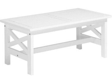 Table basse en bois d'acacia peint en blanc