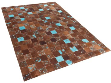 Tapis marron et bleu en peau de vache 140 x 200 cm ALIAGA