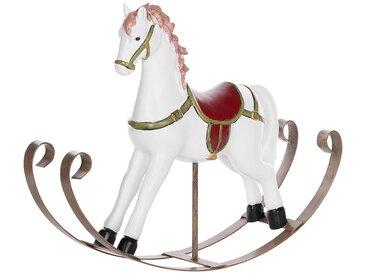 Figurine décorative blanche en forme de cheval à bascule