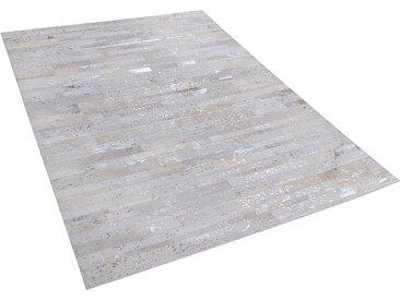 Tapis en cuir 140 x 200 cm beige et argenté TIPILI