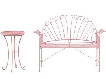 Banc de jardin romantique en métal rose avec table d'appoint assortie