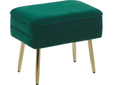 Petit bout de lit en velours vert foncé avec coffre et pieds obliques dorés