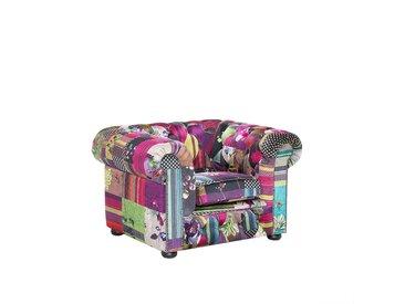 Fauteuil en tissu violet - fauteuil design patchwork - CHESTERFIELD