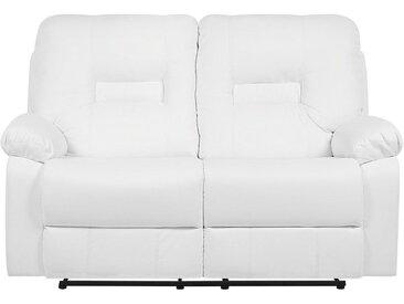 Canapé 2 places en simili cuir blanc avec position réglable BERGEN