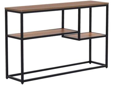 Table console en métal noir avec plateau effet bois foncé