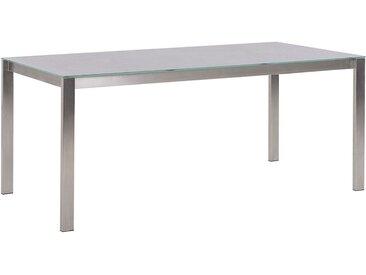 Table de jardin en acier inox avec plateau gris en verre et céramique