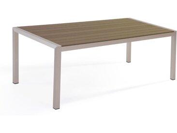 Table de jardin 6 places en aluminium avec plateau marron effet bois