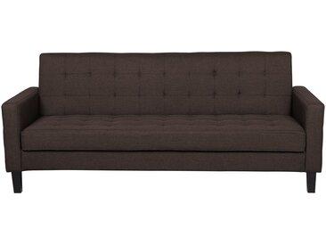 Canapé-lit clic clac en tissu marron foncé