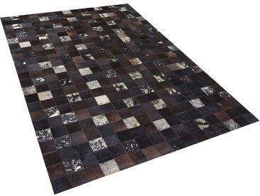 Tapis patchwork en peau 160 x 230 cm au style rustique