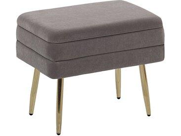 Petit bout de lit en velours gris avec coffre et pieds obliques dorés