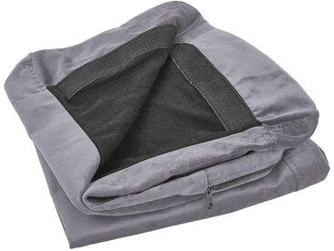 Housse amovible en velours gris pour canapé 2 places