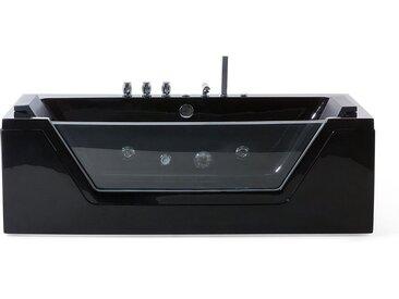 Baignoire balnéo noire 150 cm avec surface vitrée et éclairage LED