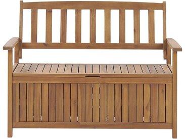 Banc coffre de rangement en bois d'acacia pour jardin ou terrasse