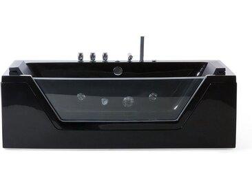 Baignoire balnéo noire 160 cm avec surface vitrée et éclairage LED