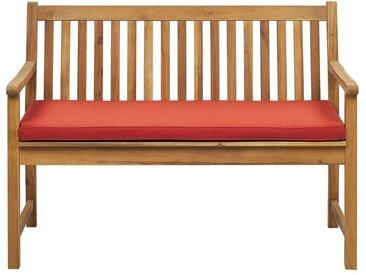 Banc de jardin 120 cm en bois d'acacia avec coussin rouge foncé