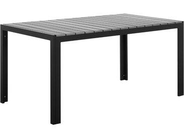 Table de jardin en aluminium noir avec plateau effet bois gris