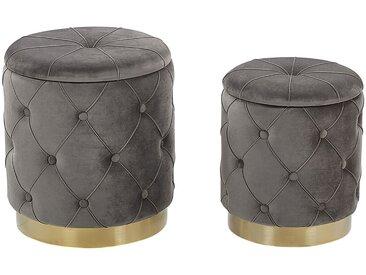 2 poufs coffres de rangement en velours gris capitonné
