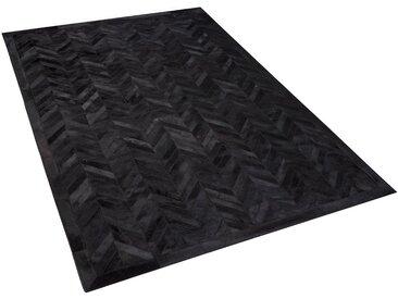 Tapis en cuir noir 140 x 200 cm BELEVI
