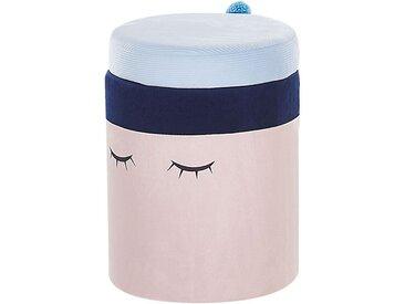 Pouf pour enfants en velours rose et bleu avec coffre à jouets