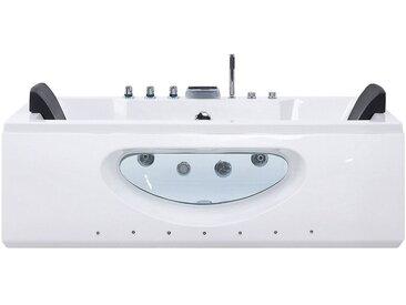Baignoire balnéo 170 cm en acrylique blanc avec surface vitrée et LED
