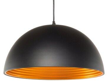 Lampe suspendue noire finition mate avec intérieur doré