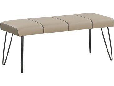Banquette design bout de lit en simili-cuir beige avec pieds noirs en métal