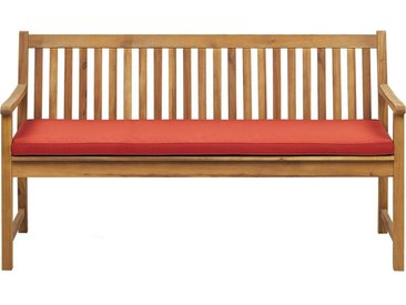 Banc de jardin 160 cm en bois d'acacia certifié FSC avec coussin rouge foncé