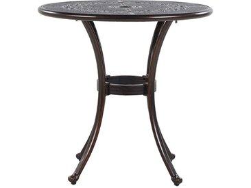 Table ronde de jardin au style vintage en aluminium marron foncé