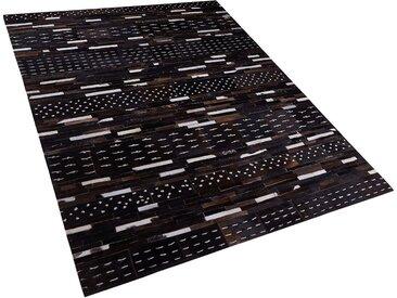 Tapis en peau de vache naturelle et laine motif patchwork 160 x 230 cm