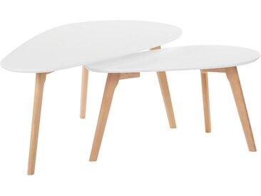 2 tables gigognes scandinaves avec plateaux blancs et pieds bois clair