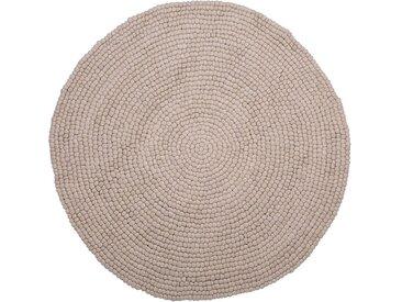 Tapis rond en feutre de laine beige