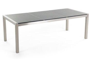 Table acier inox et plateau triple granit