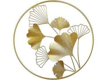 Décoration murale en forme de feuilles en métal doré