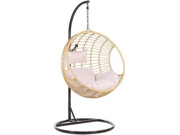 Fauteuil suspendu beige avec coussin d'assise et pied en acier noir