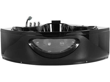 Bain à remous d'angle noir 360 litres avec surface vitrée et lumière LED