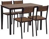 Salle à manger complète table 110 x 70 cm et 4 chaises au style industriel