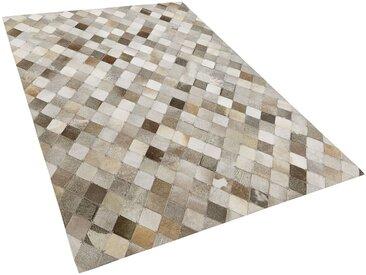Tapis patchwork fait à la main en peau de vache marron et gris 140 x 200 cm