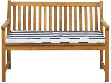 Banc de jardin 120 cm en bois d'acacia avec coussin bleu marine