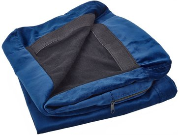 Housse amovible en velours bleu marine pour canapé 2 places