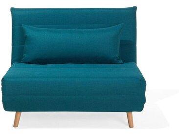 Petit canapé-lit de type chauffeuse en tissu bleu