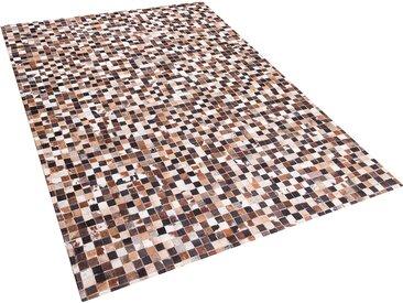 Tapis patchwork en cuir 160 x 230 beige et maron KONYA