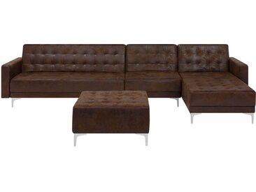 Canapé d'angle rétro avec pouf ottoman inclus